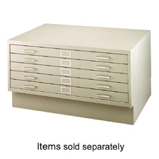 "5-Drawer Flat File, 40-3/8""x29-3/8""x16-1/2"", Grey"