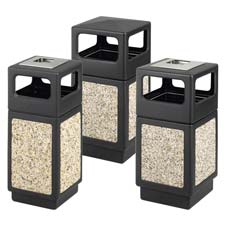 Aggregate Receptacle, 15 Gal, Square Side Open, w/ Ash Urn BK