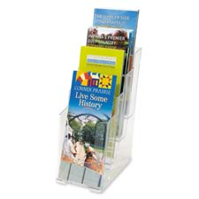 "4-Tier Litreature Holder, Leaflet, 4-7/8""x1""x12"", Clear"
