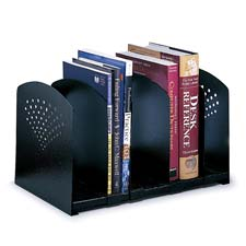 "5-Section Book Rack, Adjustable, 15-1/2""x9""x9-1/4"", Black"