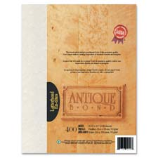 "Antique Bond Paper, 24 lb., 8-1/2""x11"", 100/PK, Aged Colour"