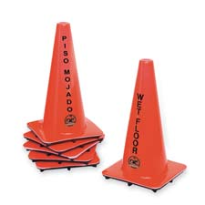 "Bilingual Wet Floor Cones, 10-1/2""x18"", Vinyl, Orange"