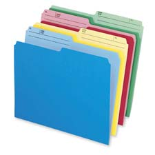 Cutless Folder, 1/2 Cut Tab, Letter Size, 24/BX, Assorted