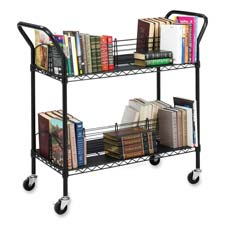 "Wire Book Cart, Double Sided, 34""x19-1/4""x40-1/2"", Black"