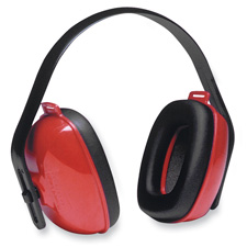 Ear Muffs, 3-Positions, Adjustable Crown, Red/Black