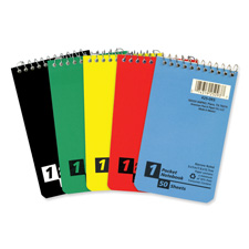 "Memo Notebook, Top Spiral, Ruled Narrow 50 Shts, 3""x5"", Ast"