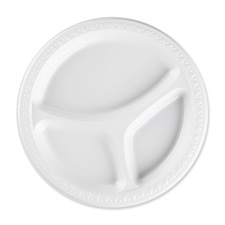 "9"" Round Plates, 3 Sections, Reusable/Disposable, 125/PK, White"