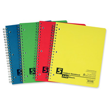 "Notebook, 5 Subject, College Rule, 240 Shts, 11""x8-1/2"", AST"