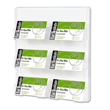 "Business Card Holder, 6 Slots, 8-1/2""x1-1/2""x9-3/4"", Clear"