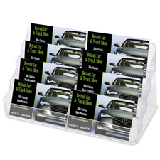 "Desktop Business Card Holder, 8 Comp, 8""x3-3/4""x3-7/8"", Clear"