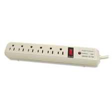 Strip Surge Protector, 1080 Joules, 6 Outlets, 6' Cord, Putty