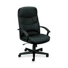 High-Back Chair, Pneumatic Seating, Black Leather