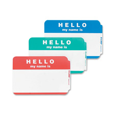 """Hello My Name Is"" Badge, 3-1/2""x2-1/4"", 100/BX, Red"