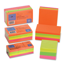 "Adhesive Note Pads, Ruled, 3""x5"", 5/PK, Assorted"