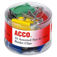 Binder Clips in Soft Tub, Assorted Sizes, Colours